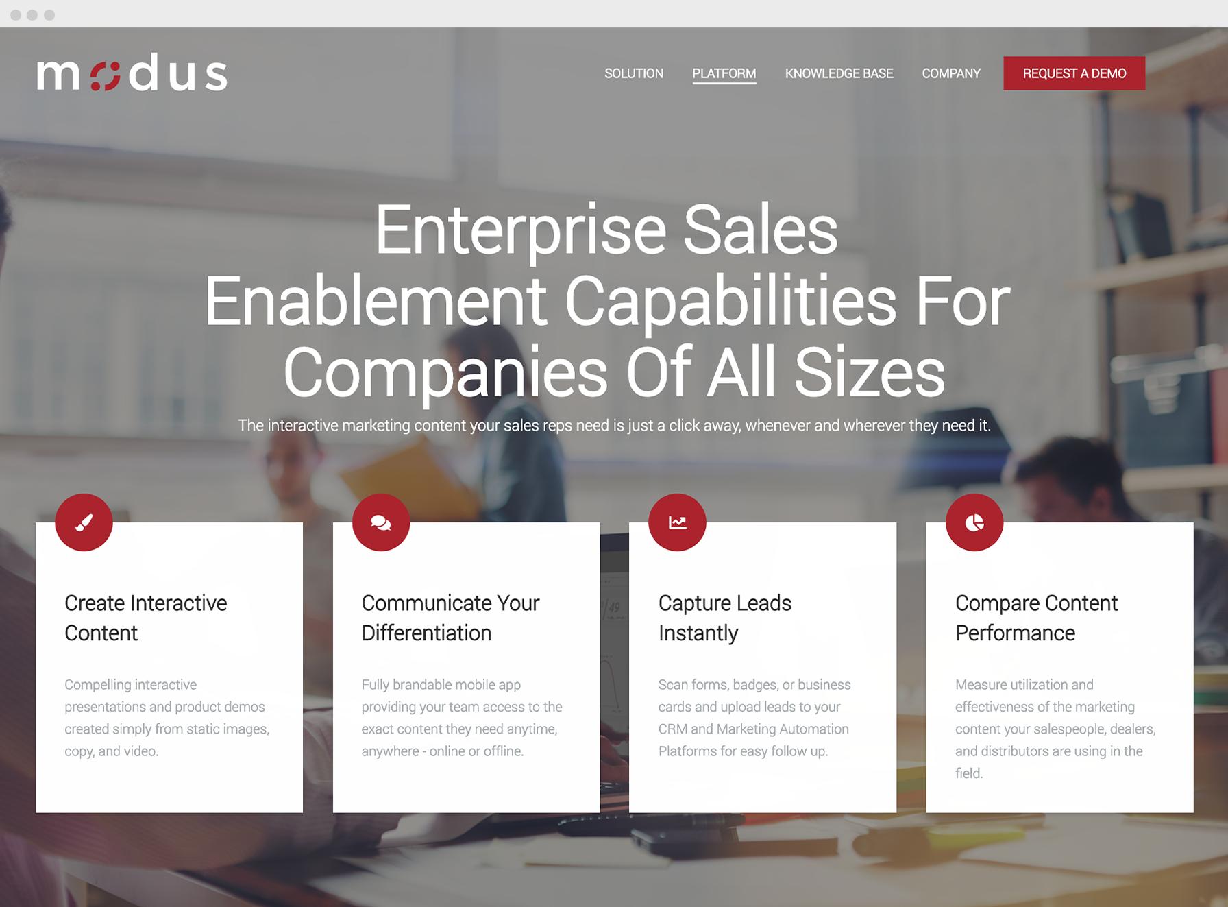 Modus Engagement website page