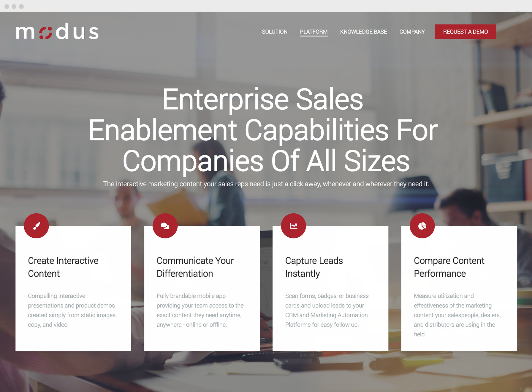 Modus Engagement website page