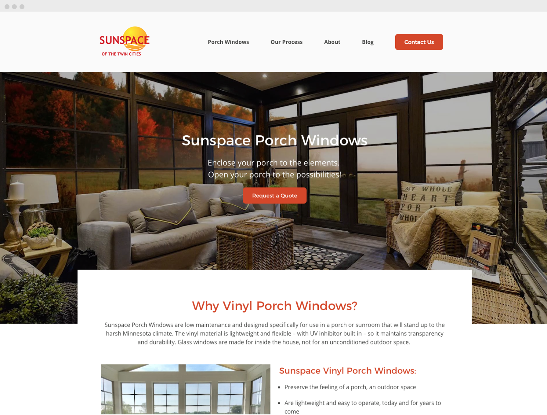Sunspace Twin Cities website page