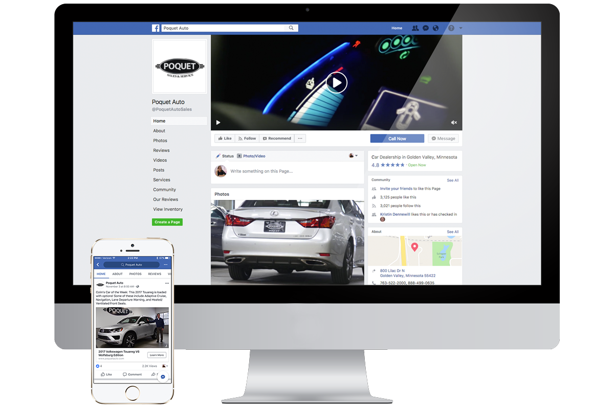 Poquet Auto Facebook displayed on a Mac and iPhone