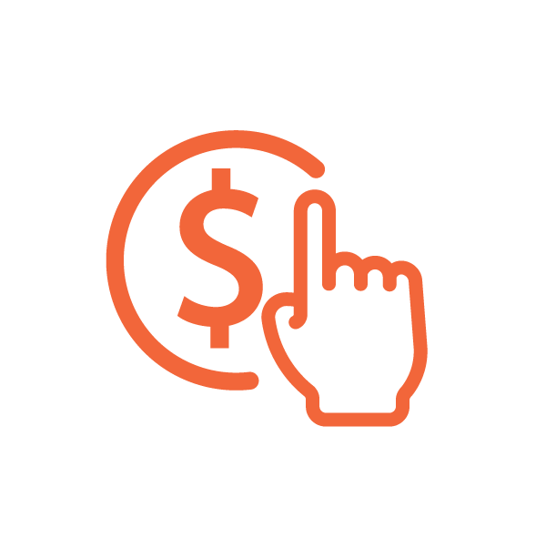 Orange hand icon with index finger pointing up next to dollar sign