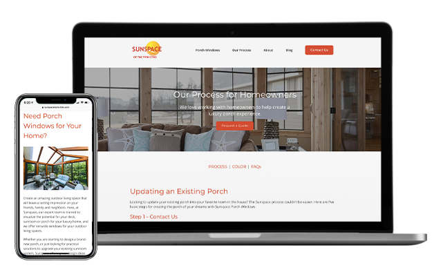 Sunspace new website displayed on desktop and phone